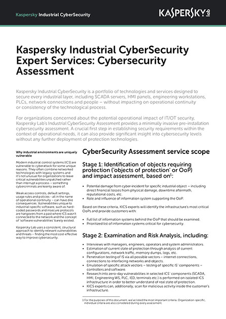 Kaspersky Industrial CyberSecurity Expert Services: Cybersecurity Assessment